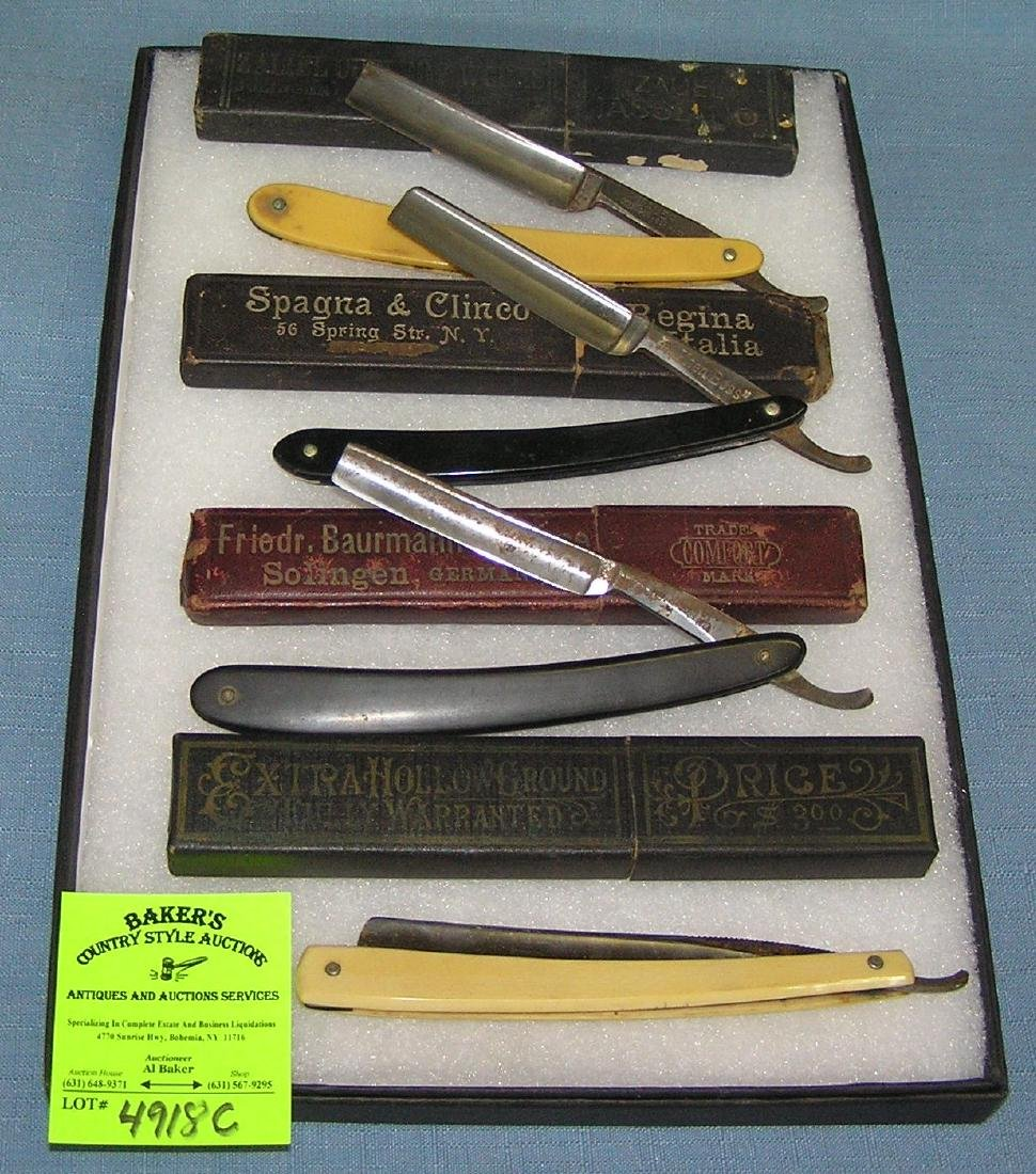 Collection of antique straight razors