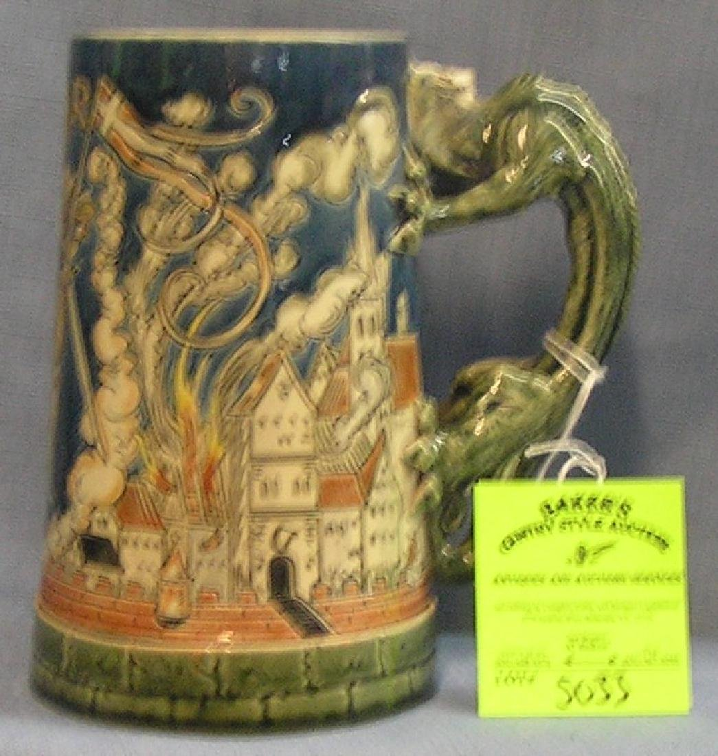 Early German beer stein with dragon handle