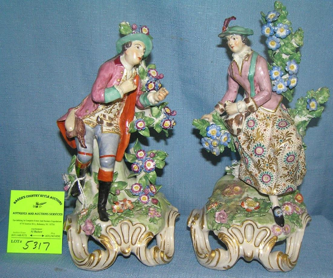 Pair of hand painted German porcelain figurines