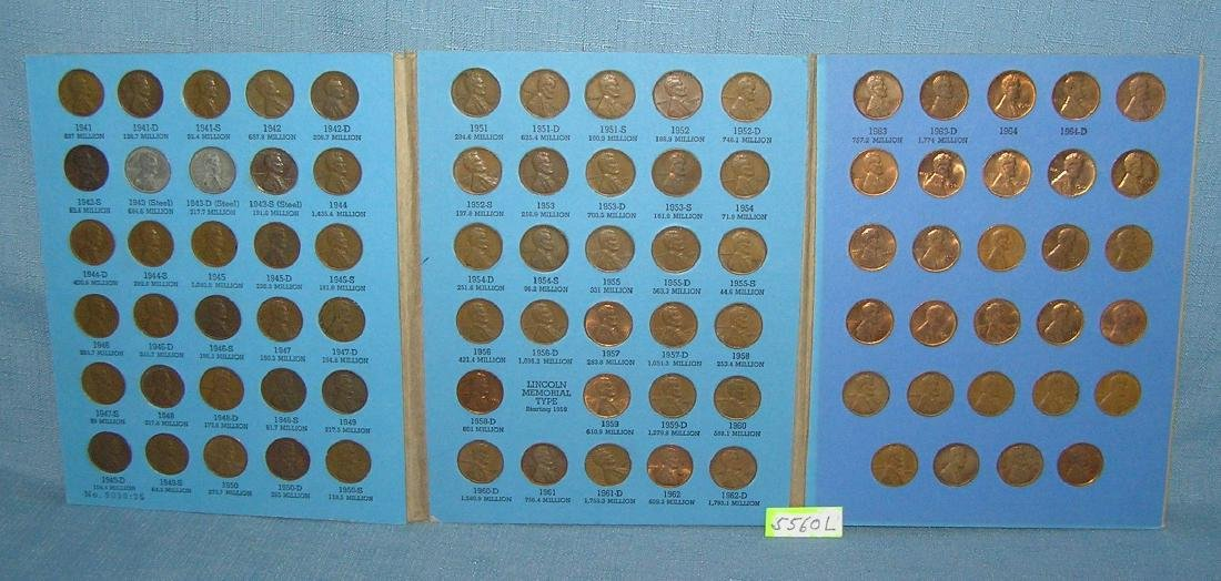 Collection of Lincoln pennies 1941 to 1964