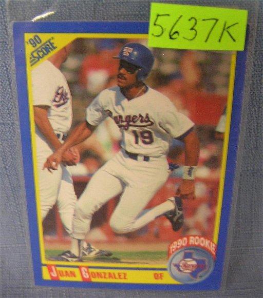 Juan Gonzalez Rookie Baseball Card Nov 29 2018 Bakers