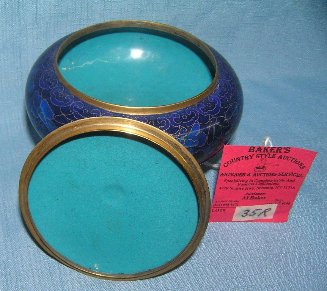 Blue enamel over brass clossine style covered bowl - 2