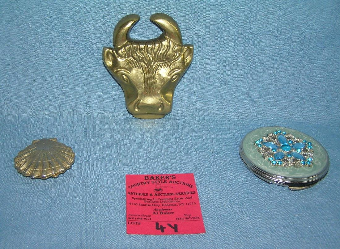 Pair of quality make up compacts and paper weight