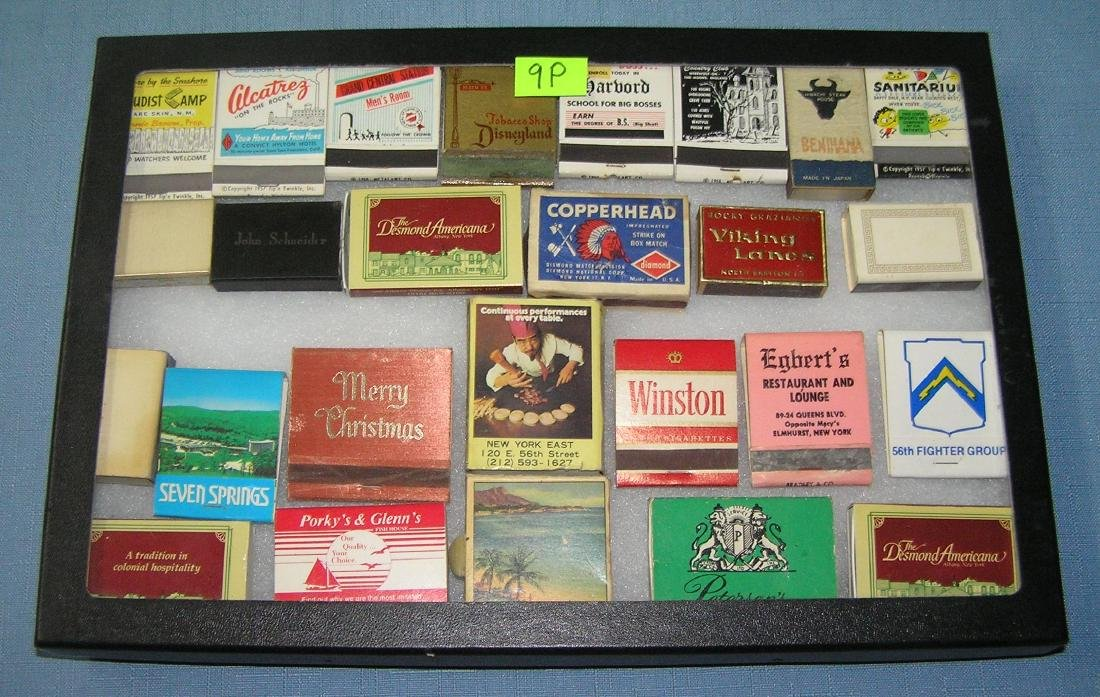 Collection of advertising match books and boxes