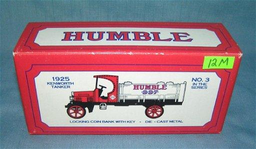 1925 Kenworth Humble oil tanker delivery truck bank - Dec 03