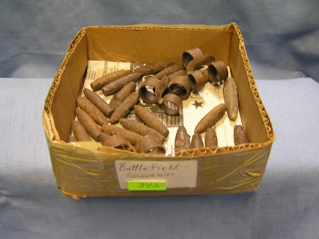 Box full of military battle field souvenirs