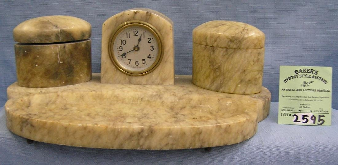 Antique marble clock and ink well desk set
