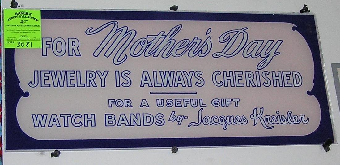 Antique reverse painted jewelry advertising sign