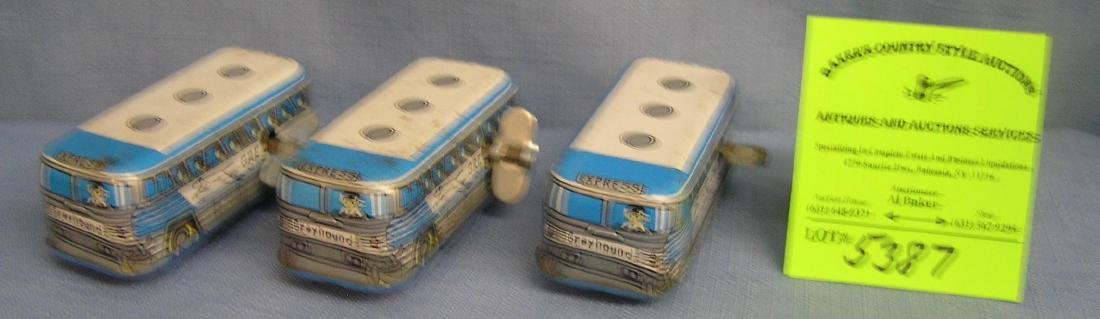 Vintage all tin windup mechanical greyhound buses