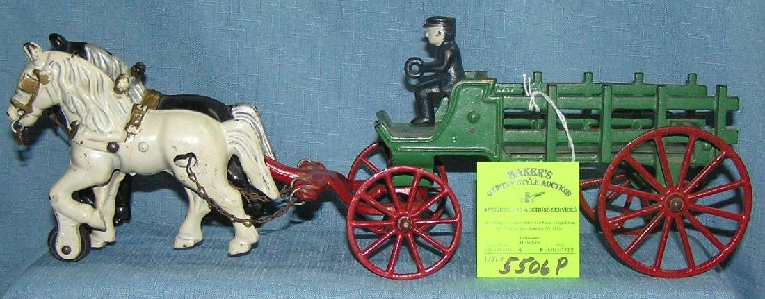 Vintage all hand painted cast iron horse drawn cart