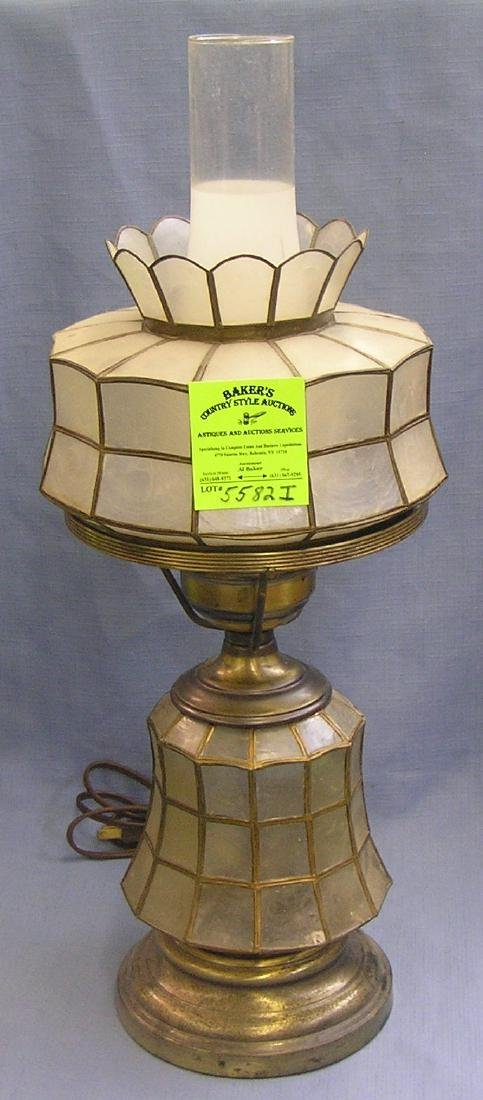Vintage brass and shell table lamp