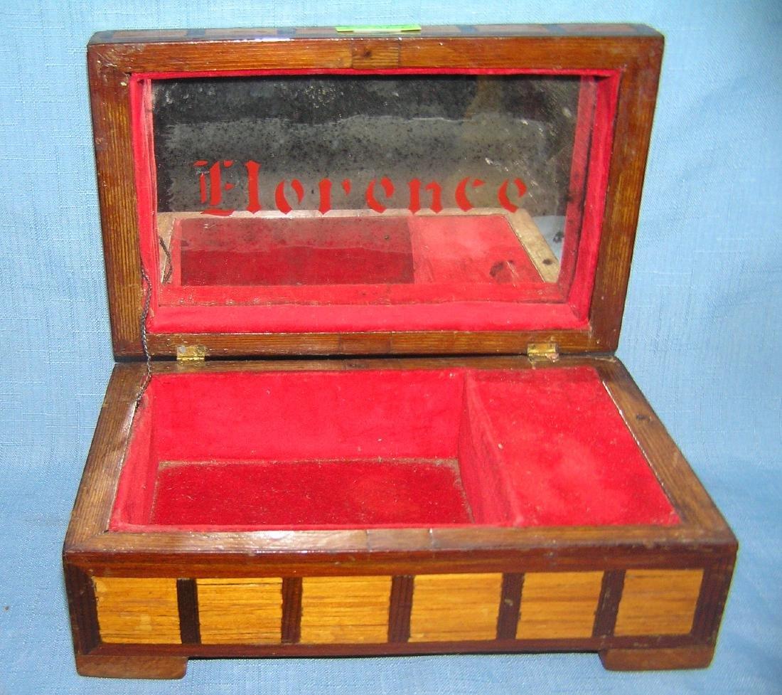 Early folk art hand made jewelry box - 4