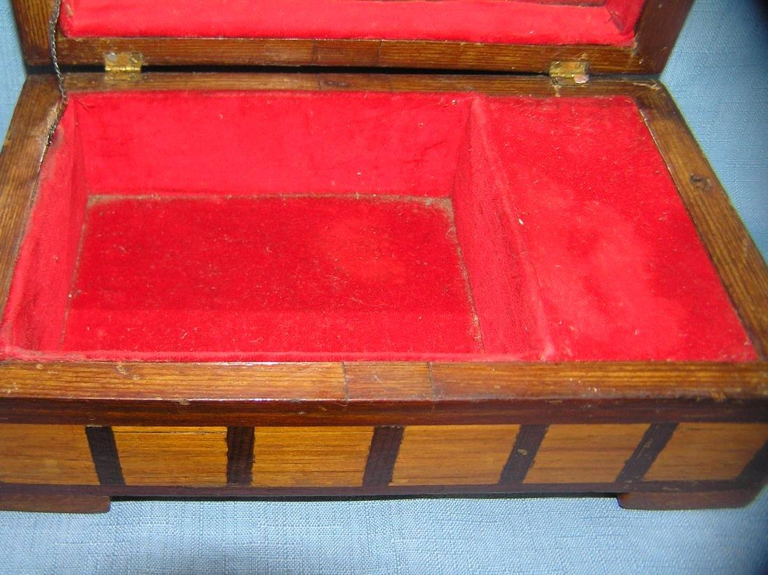 Early folk art hand made jewelry box - 5