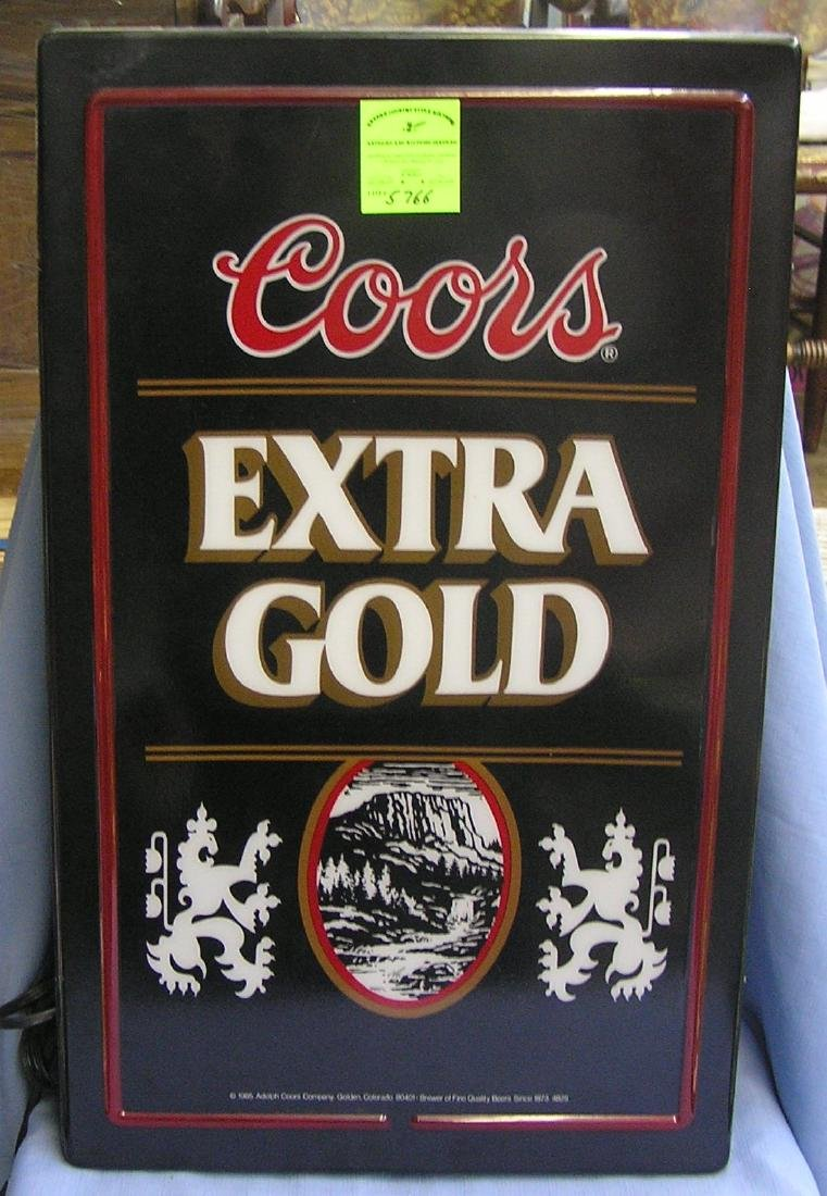 Vintage Coors extra gold illuminated beer sign