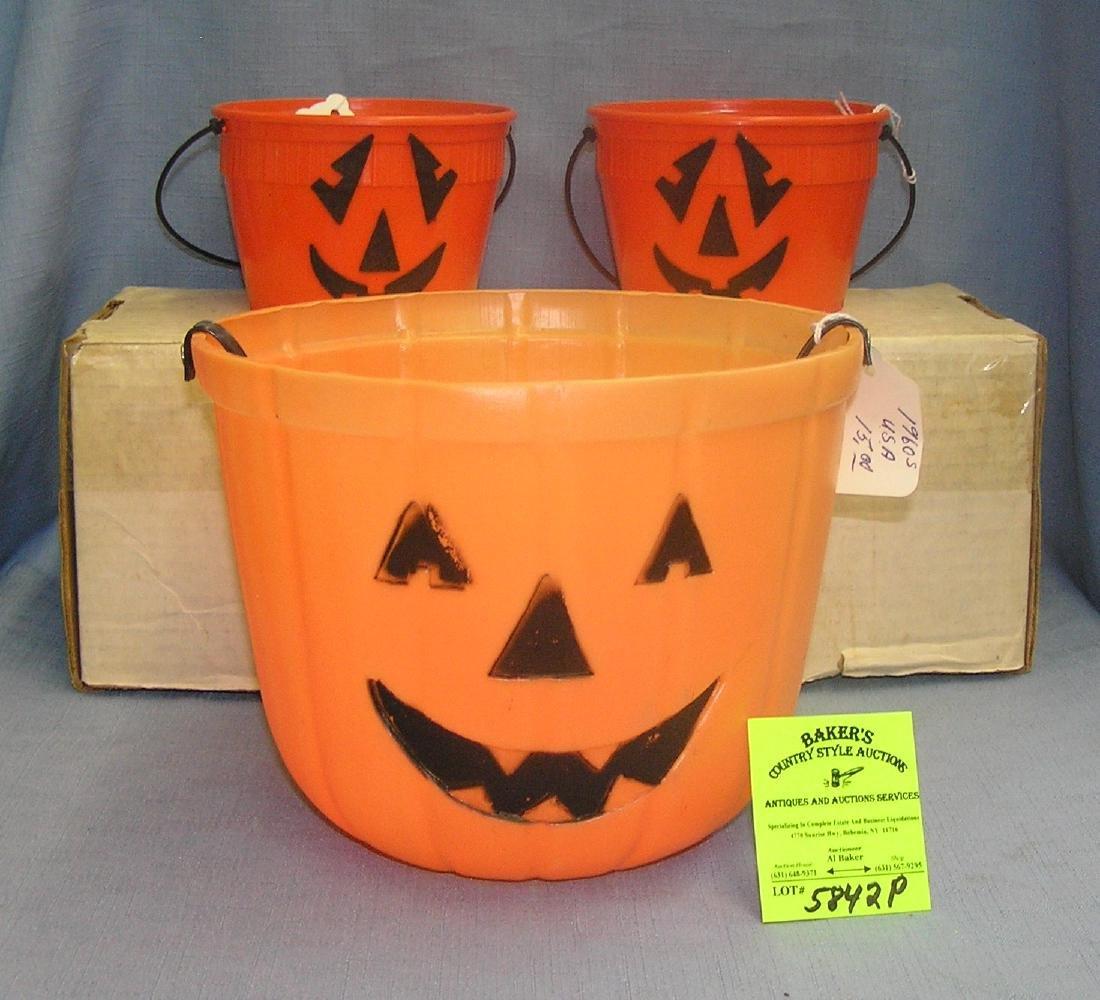 Jack O' Lantern trick or treat buckets