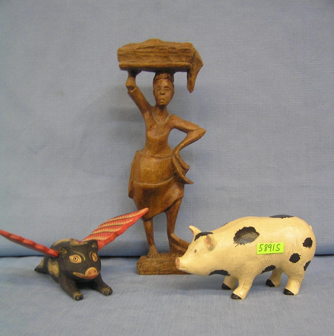 Group of 3 wooden figural pieces