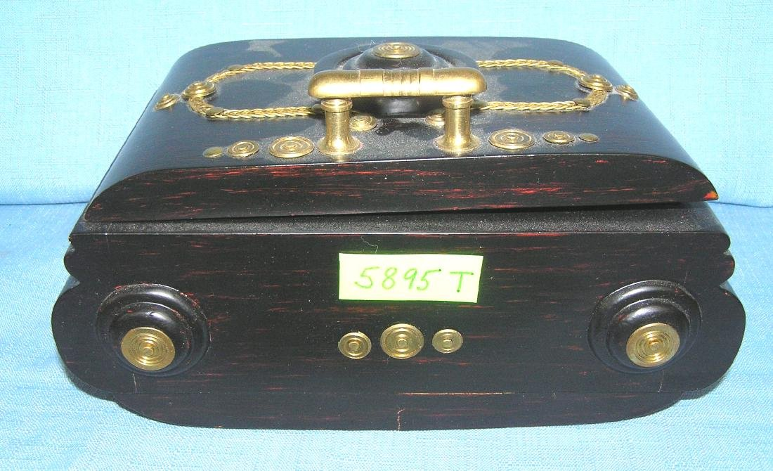 Wood and brass decorated jewelry and trinket box