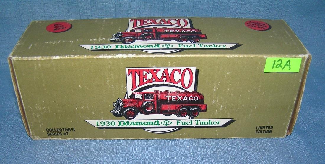 All cast metal 1930 Texaco fuel tanker truck bank