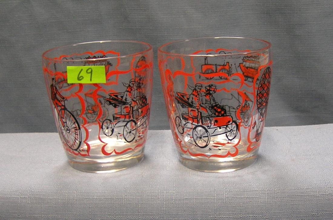 Pair of early transportational drink glasses