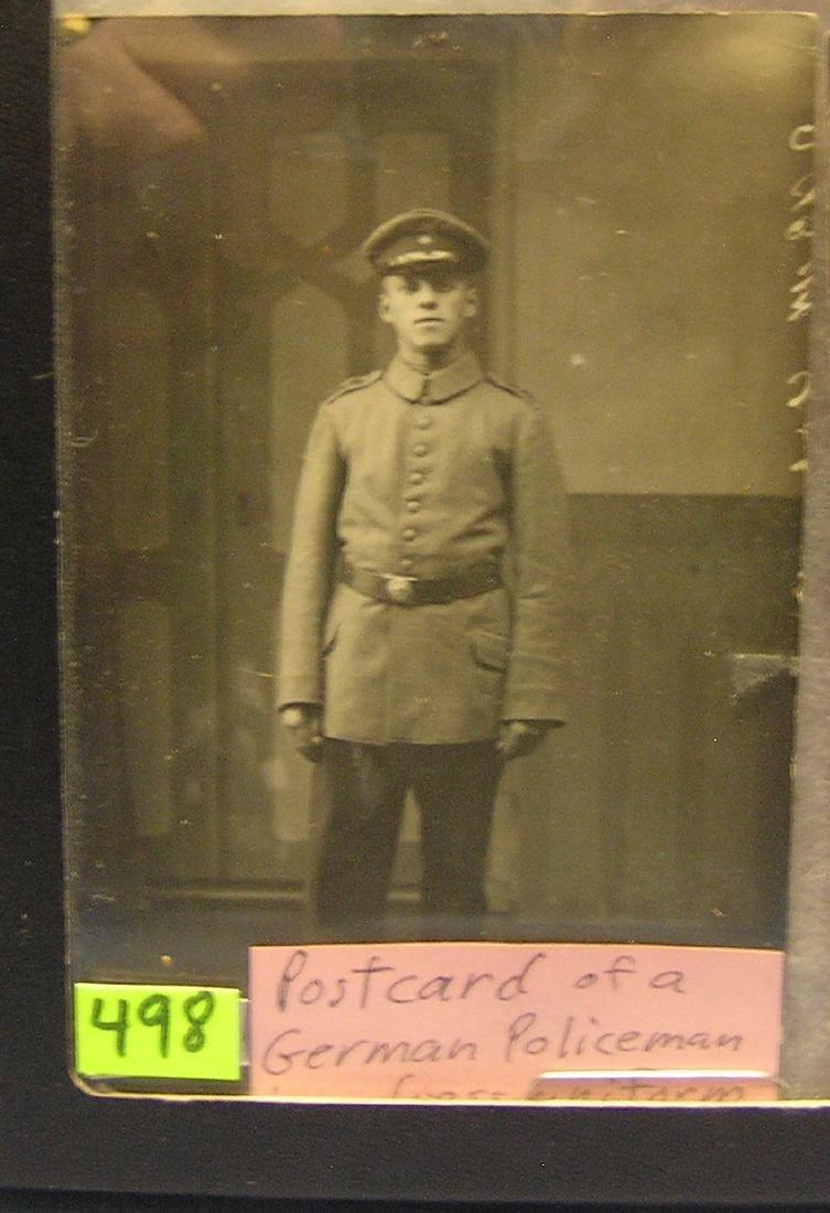 WWII German police man photo postcard