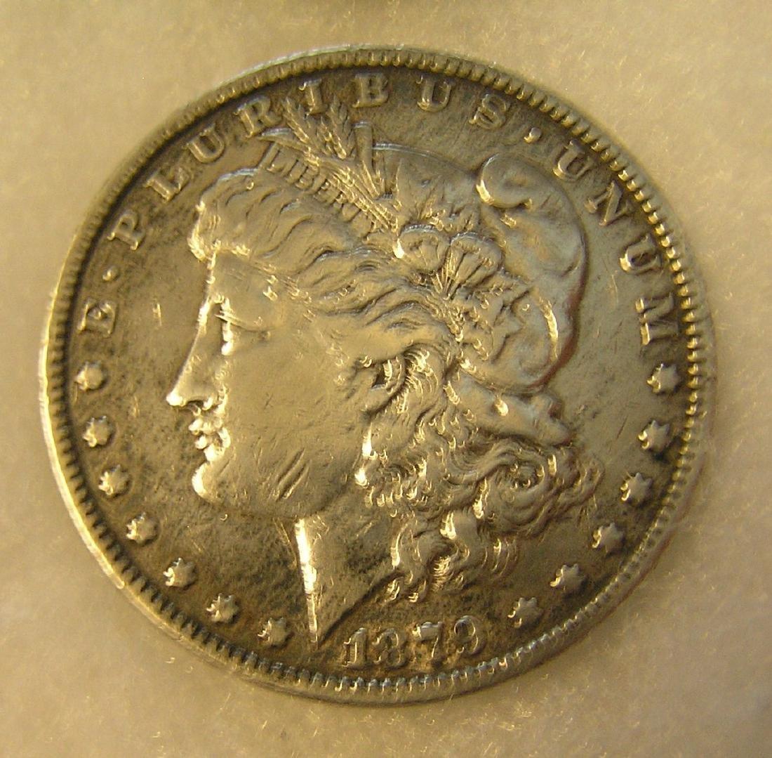 1879 Morgan silver dollar in very good condition