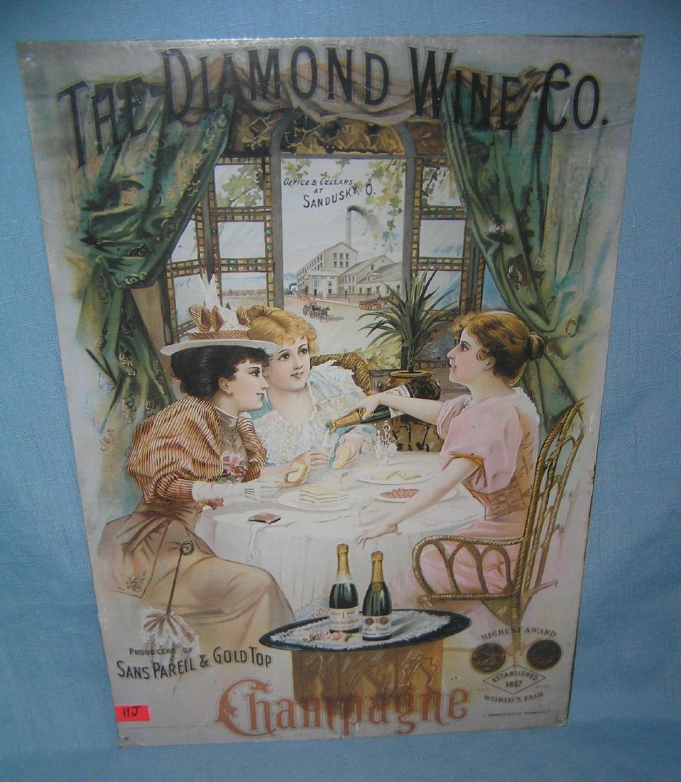 The Diamond Wine Co. champagne all tin retro sign
