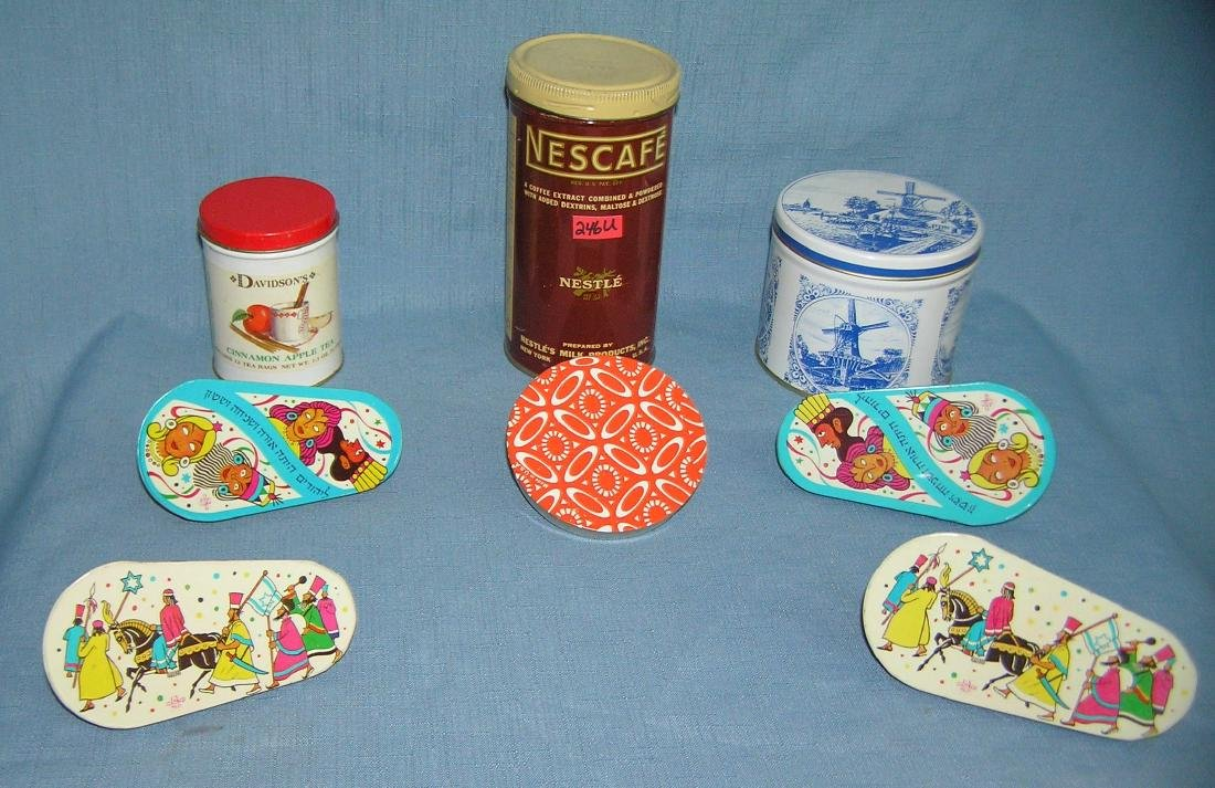 Collection of advertising tins and noise makers