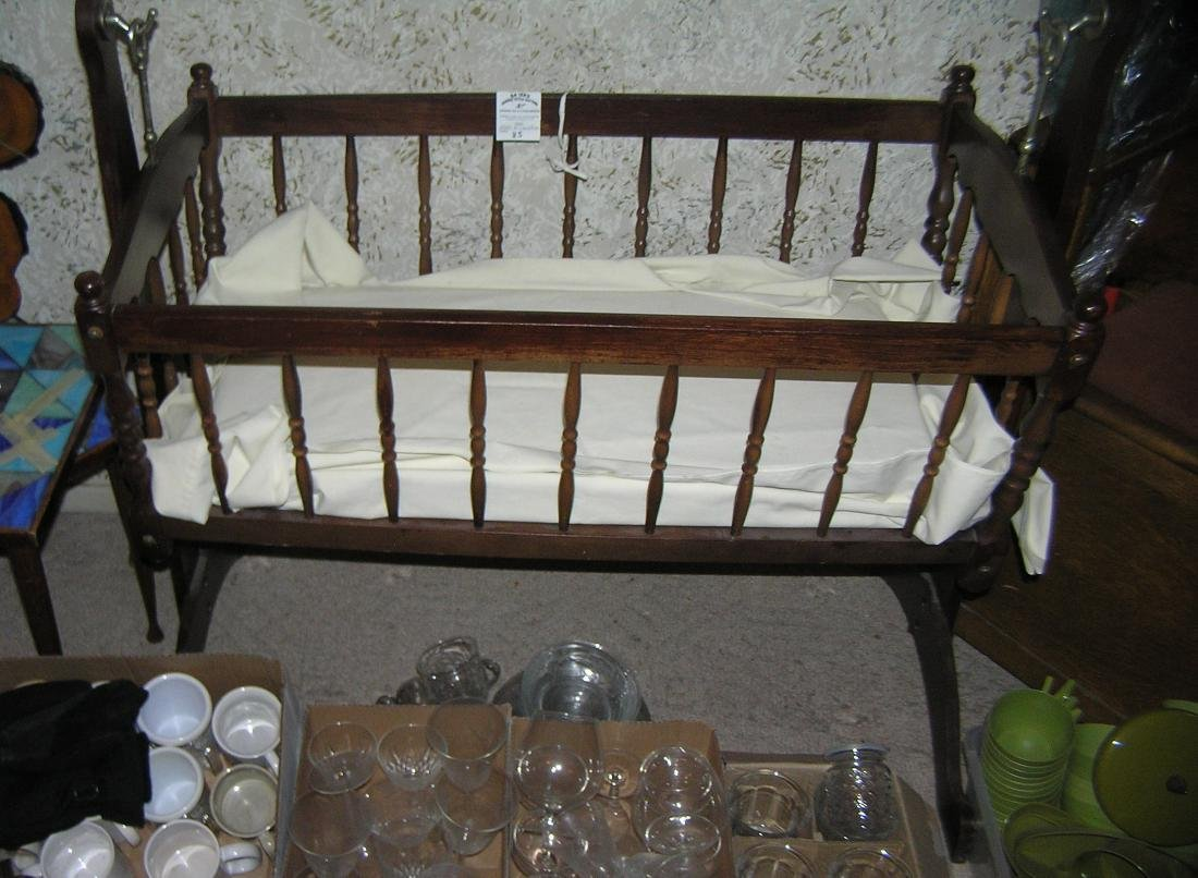 Mahogany style baby or doll cradle