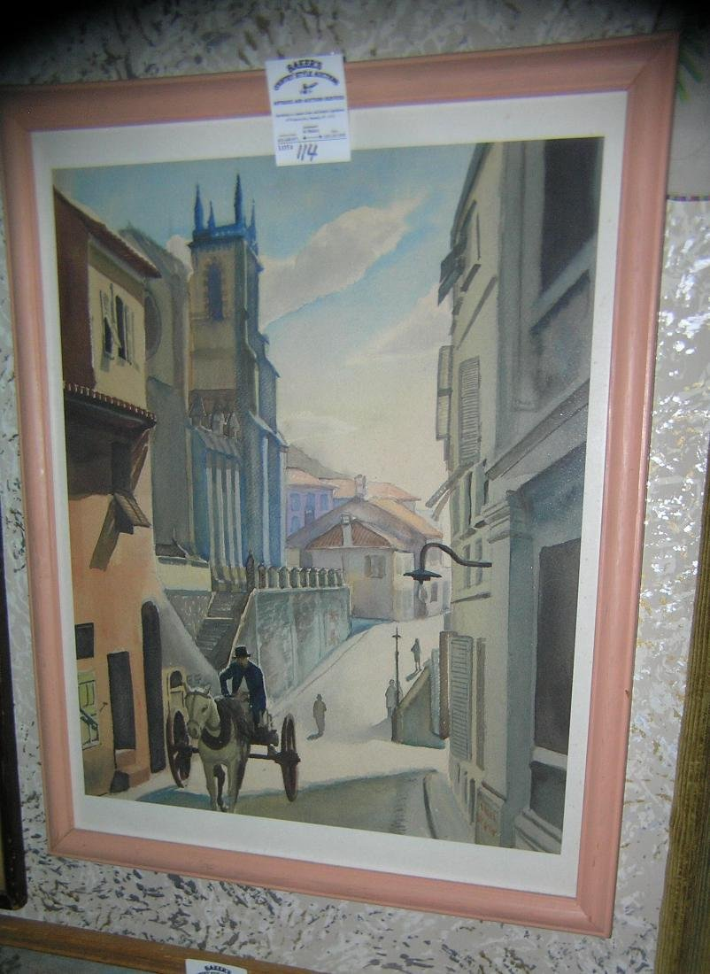 Vintage print matted and framed