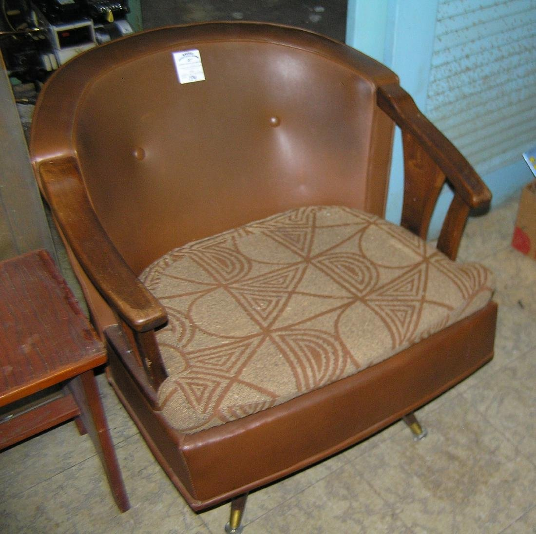 1950's modern leather and walnut arm chair