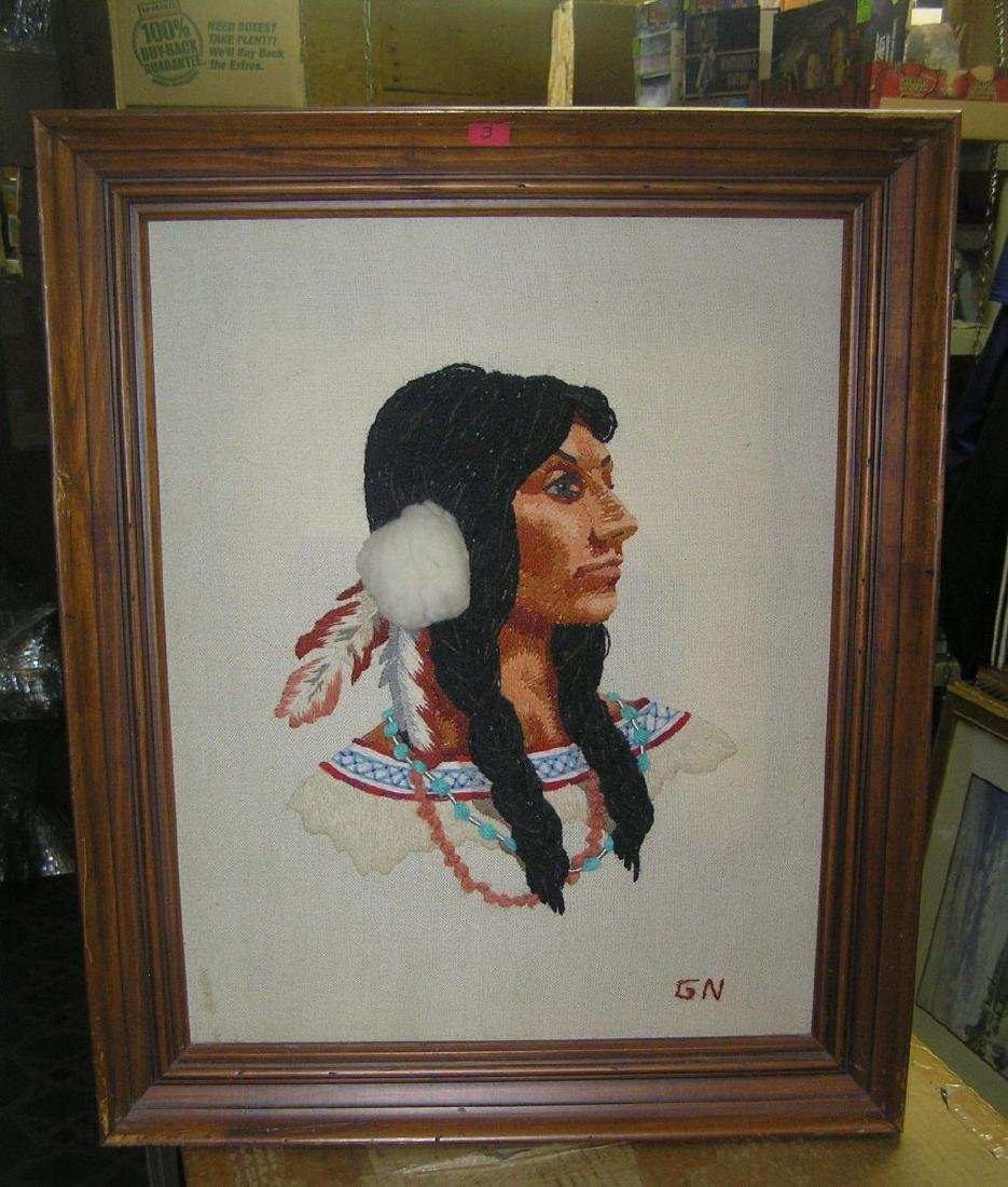Native American Indian needle point