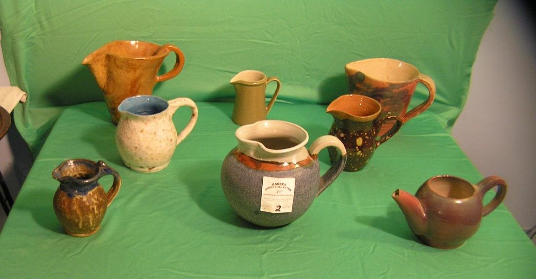 Collection of art pottery pitchers