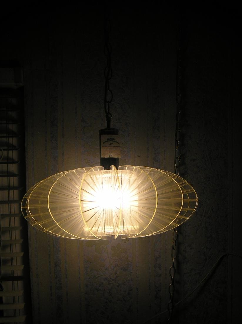Mid Century Modern Lucite and chrome chandelier - 2