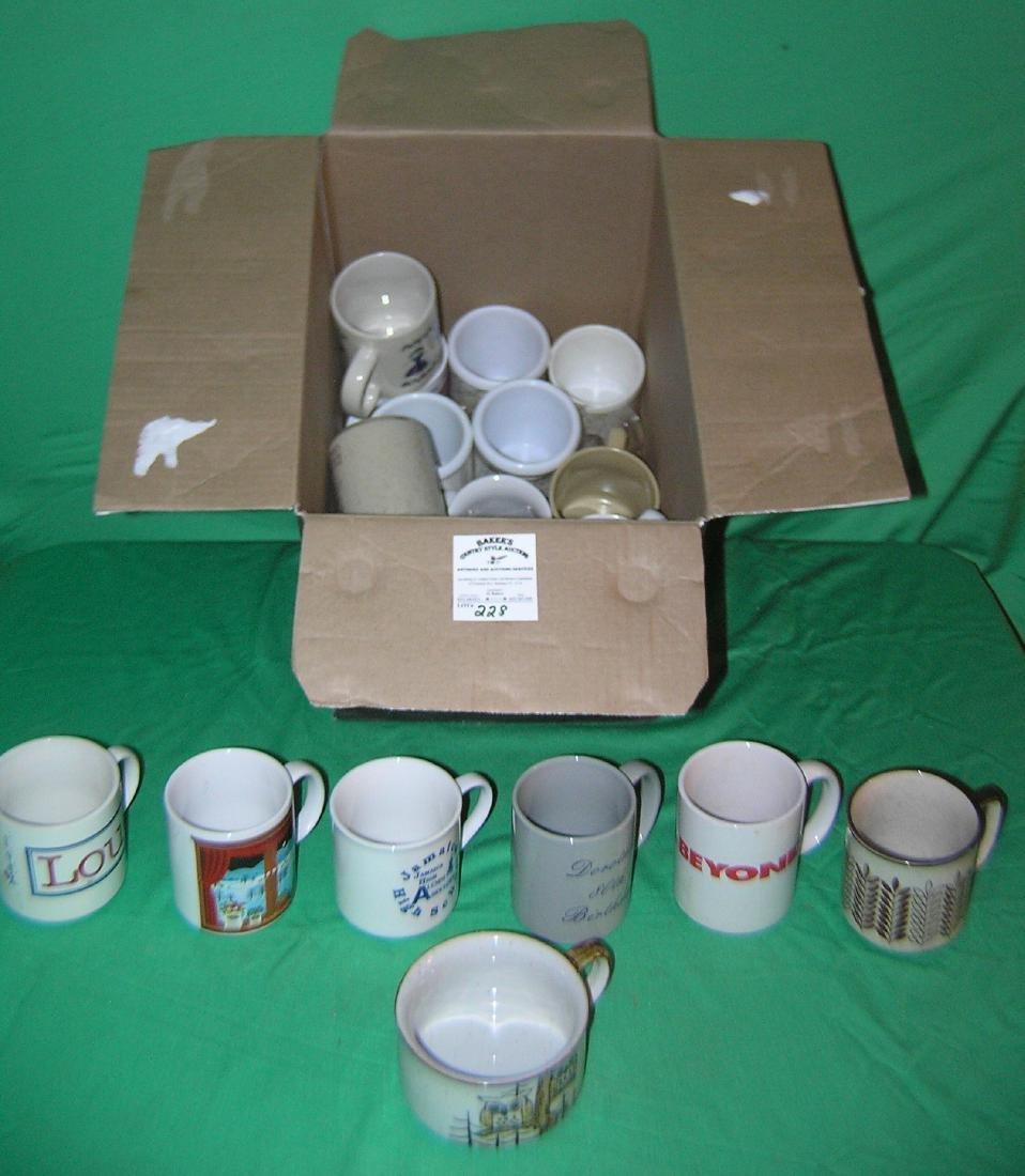 Box full of vintage coffee mugs
