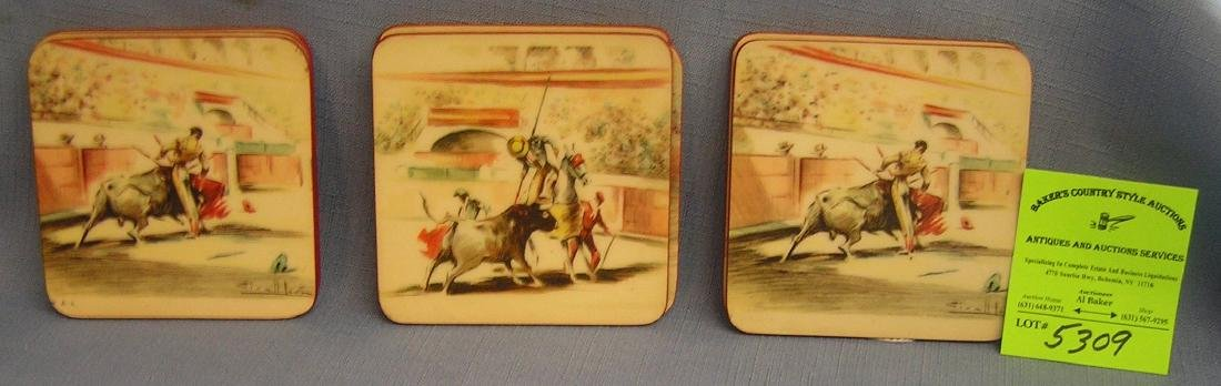 Quality bull fighting themed coaster set