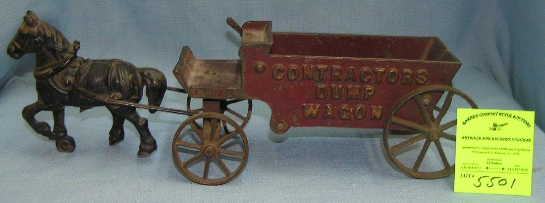 Early cast iron horse drawn contractors dump wagon