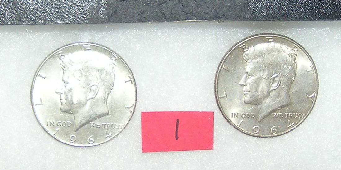 Pair of Kennedy silver half dollar coins 1964