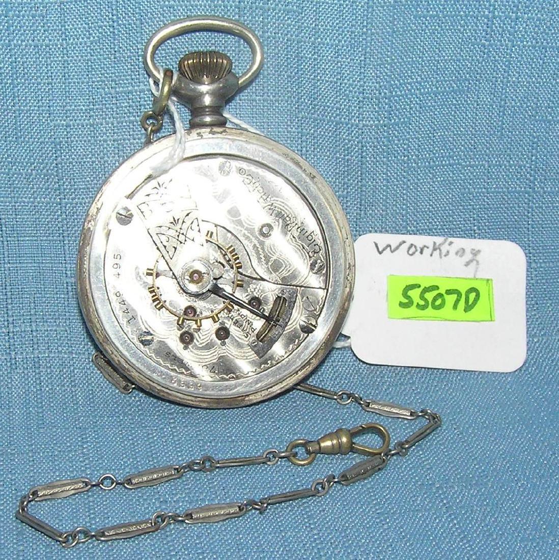 Antique Elgin coin silver pocket watch - 2