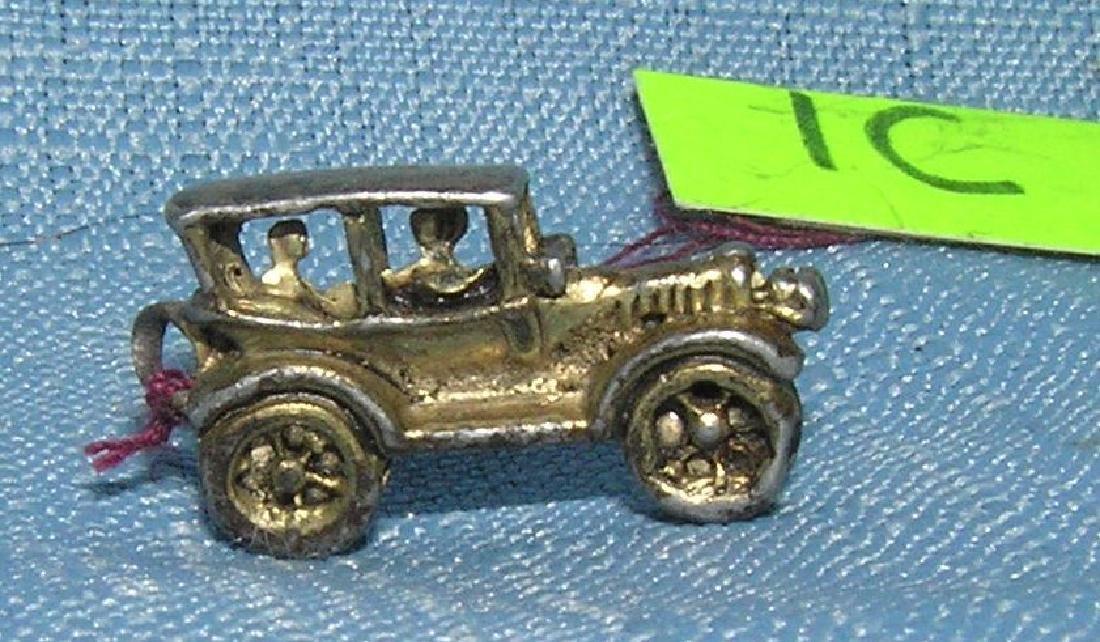 Early cast metal 2 passenger sedan miniature toy car - 2