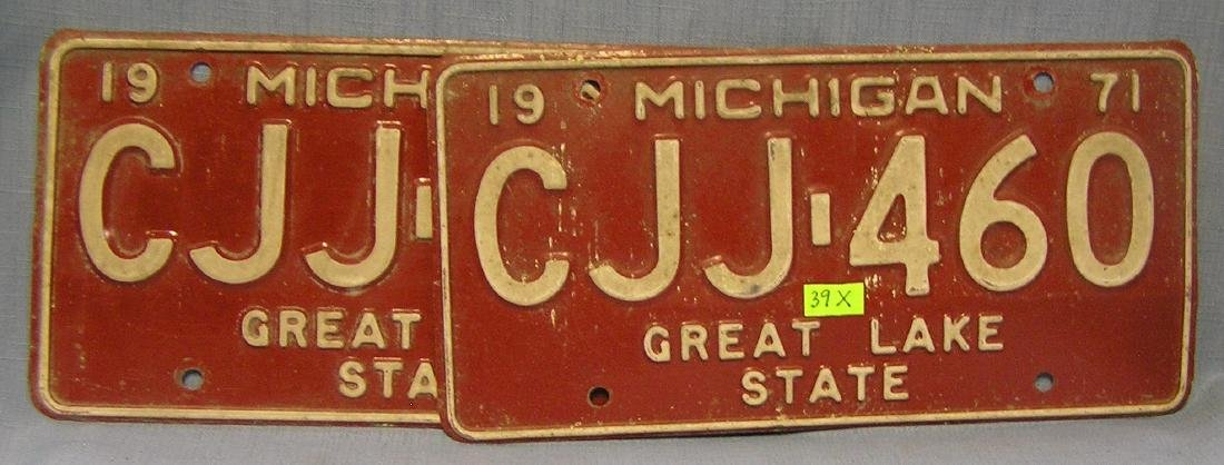 Pair of early Michigan license plates