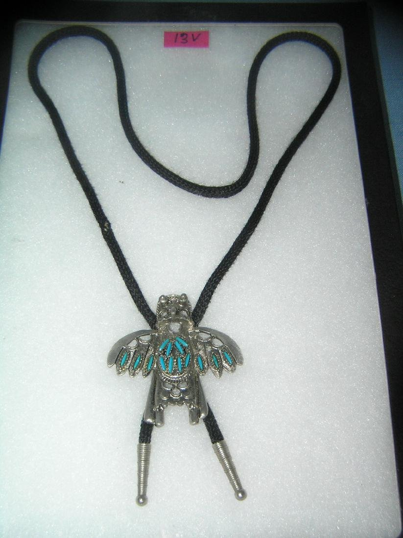 Native American Indian turquoise and pewter string tie