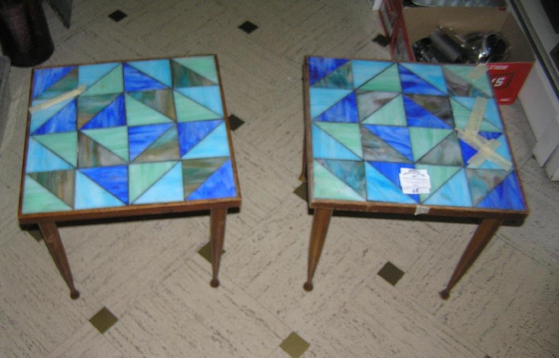 Mid Century Modern stained glass end tables