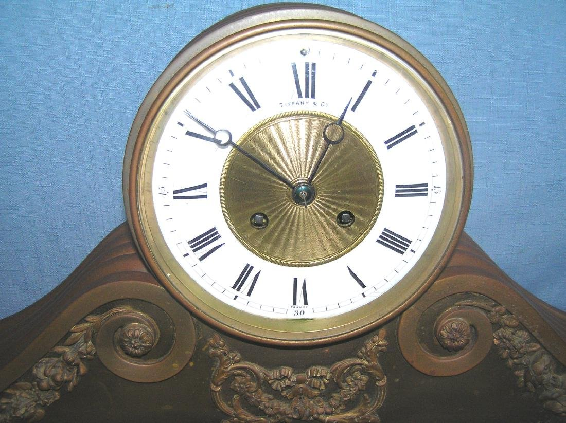 Great early Tiffany and Co. bronze mantle clock - 2