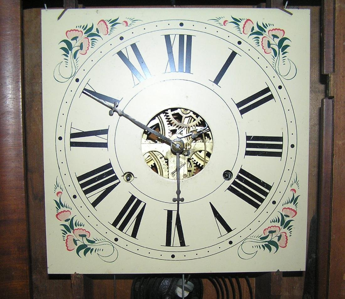 Antique reverse painted shelf clock - 4
