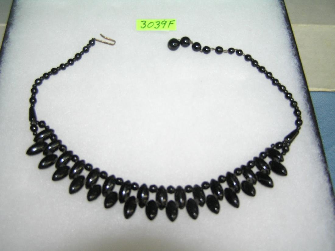 Antique black beaded necklace