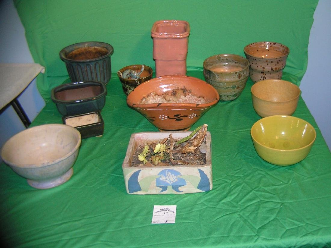 Collection of art pottery planters