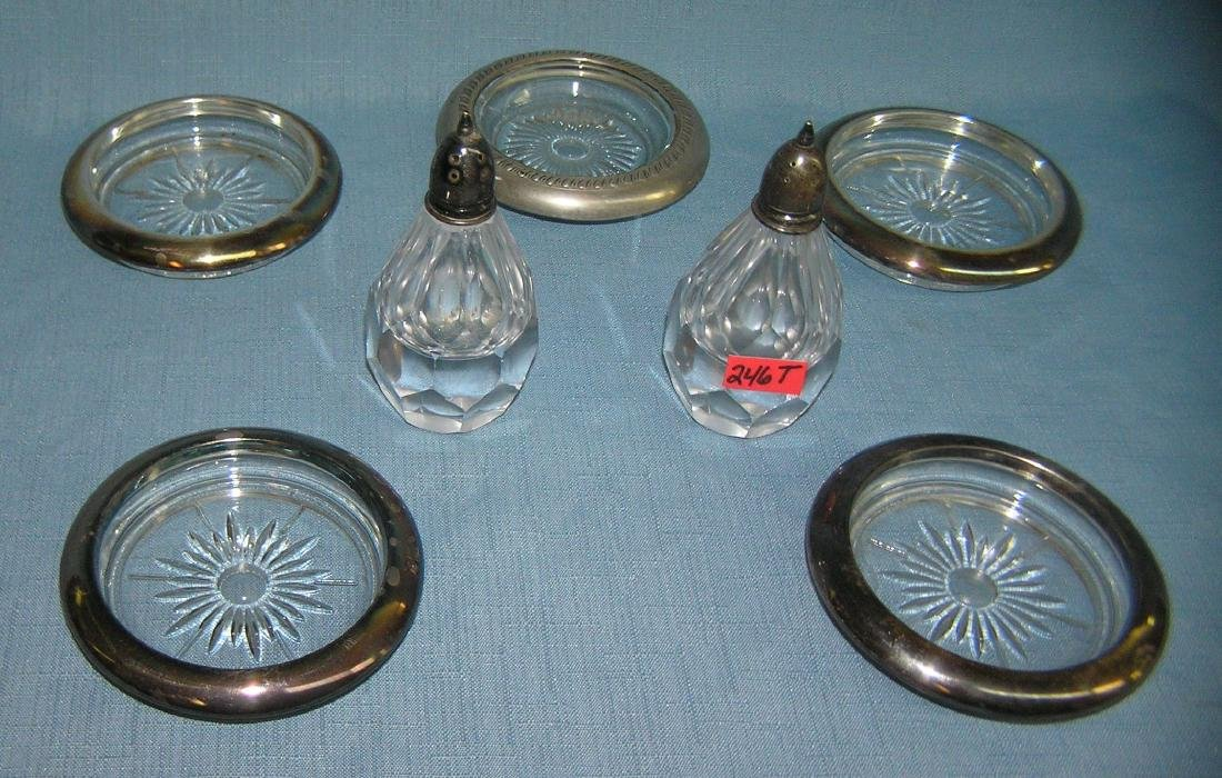 Group of sterling silver and silver plate accessories