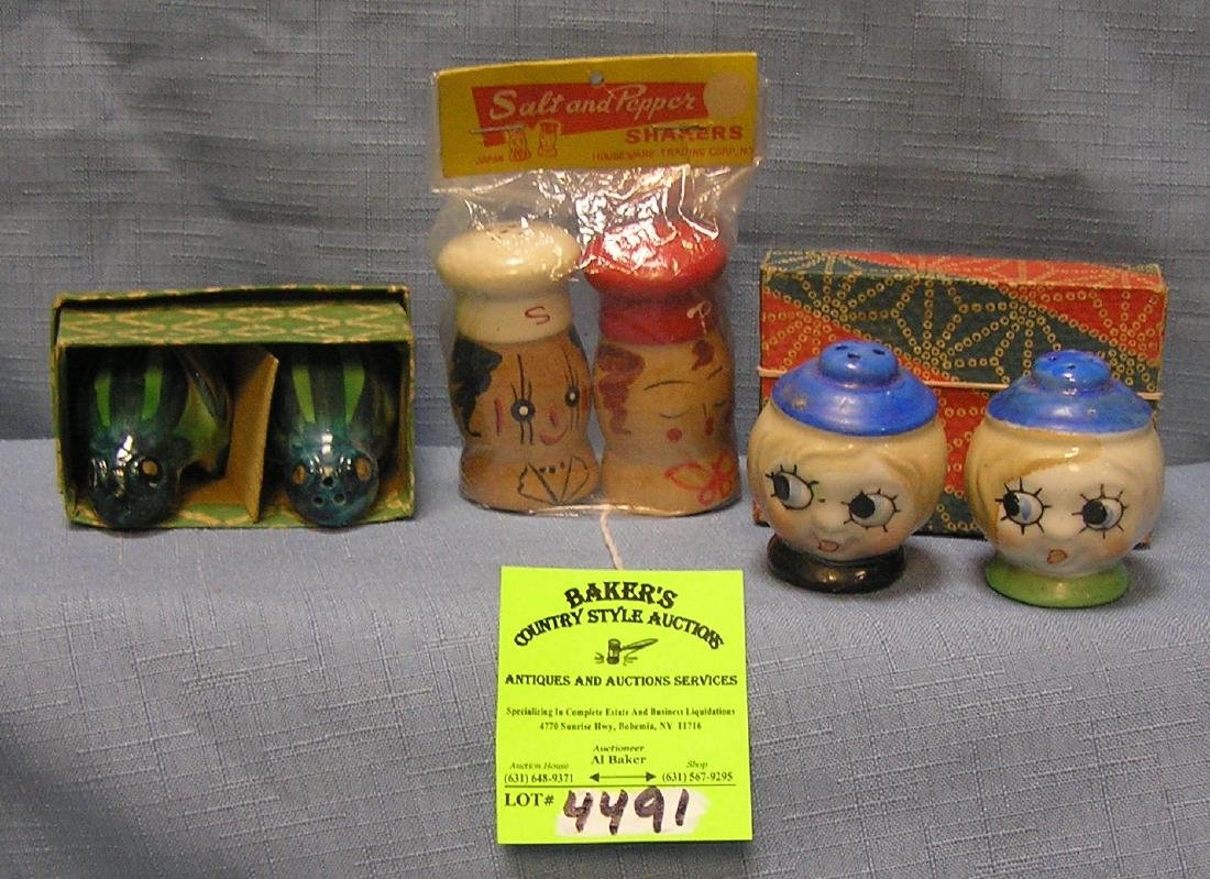 Three pairs of vintage salt and pepper shaker sets