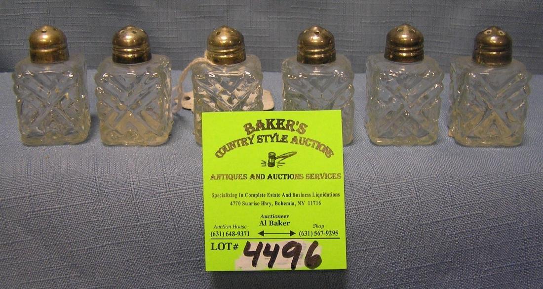 Three pairs of vintage crystal salt and pepper shakers