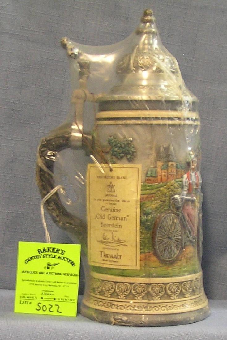 Vintage German Beer stein with bicycle theme lid